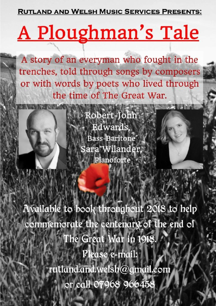 A Ploughman's Tale Recital Poster by Robert-John Edwards with Sara Wilander.