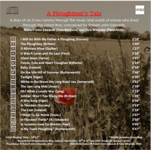A Ploughman's Tale CD Back cover with Track List